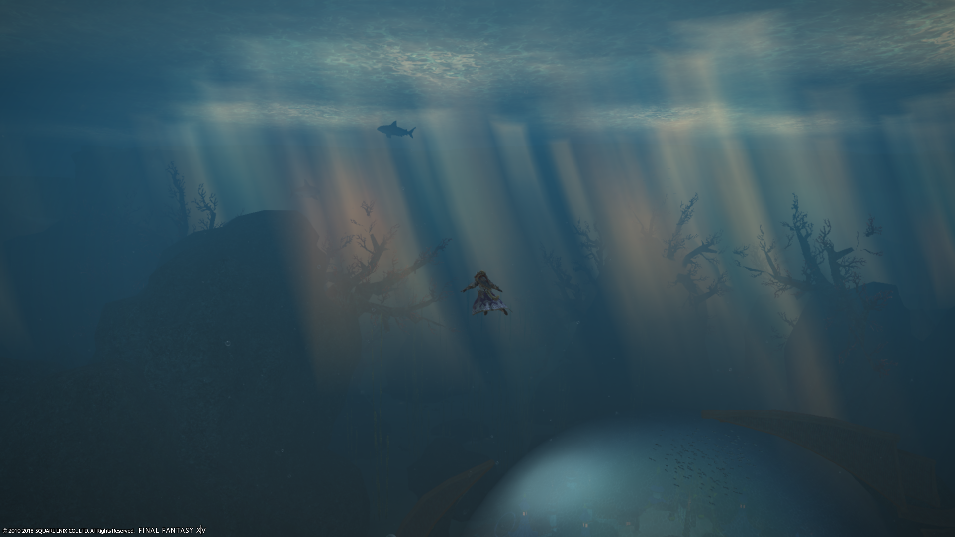 Under water with sunbeams